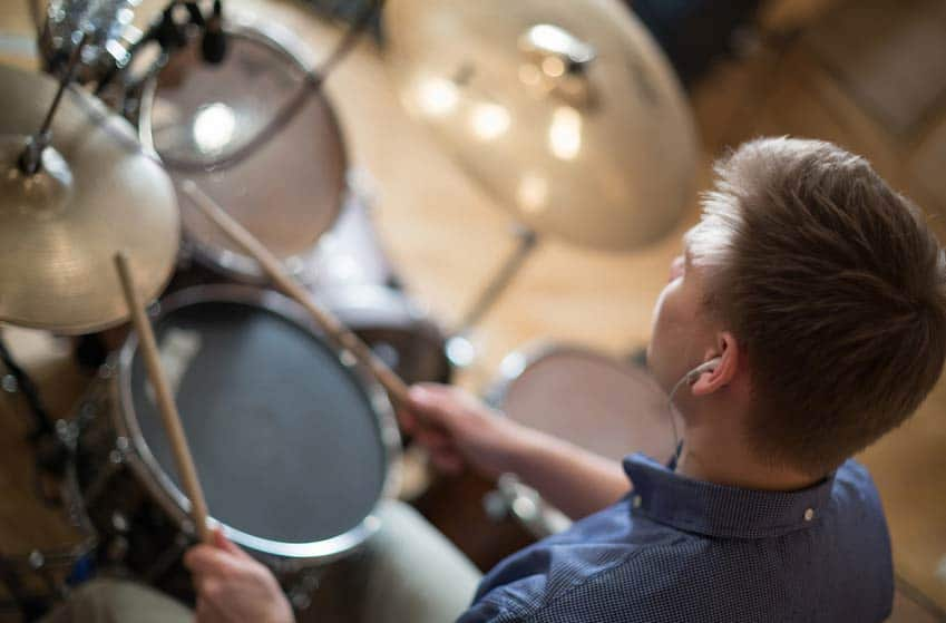Male Session Musician playing the drums