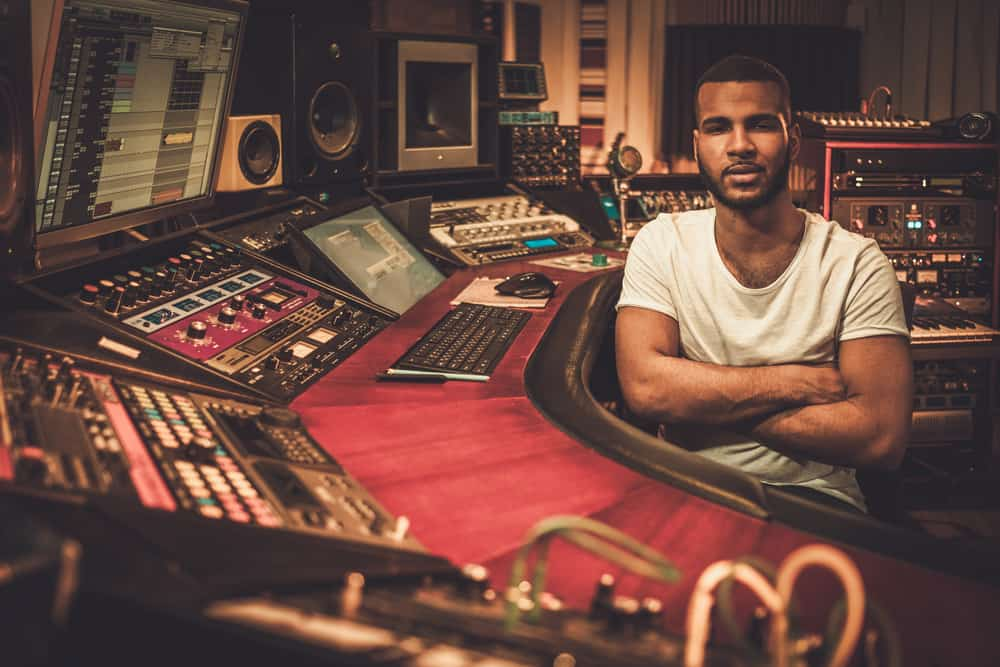 African-American sound engineer in boutique recording studio
